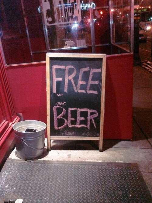 FREE wi-fi, great BEER sign