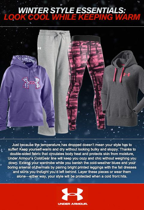 Just because the temperature has dropped doesn't mean your style has to suffer! Keep yourself warm and dry without looking bulky and sloppy. Thanks to double-sided fabric that circulates body heat and protects skin from moisture, UnderArmour's ColdGear line will keep you cozy and chic without weighing you down.