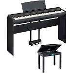 Yamaha P125B Digital Piano with Yamaha L125b Stand, LP1B 3-Pedal Unit and Bench