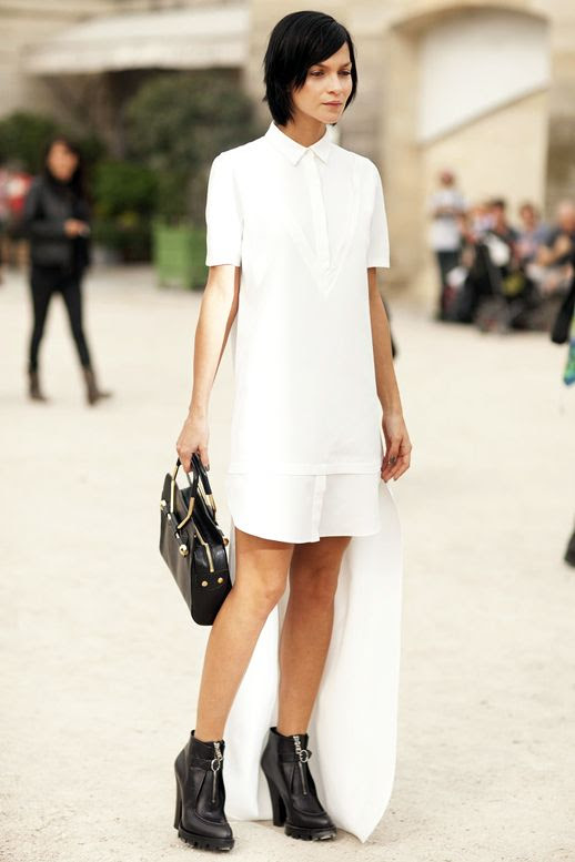 Le Fashion Blog Street Style Pfw Leigh Lezark White Shirtdress Top Handle Bag Black Zip Front Ankle Boots Via Popsugar