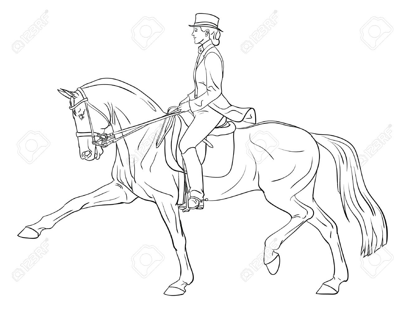 Dressage Horse Coloring Pages at GetDrawings | Free download