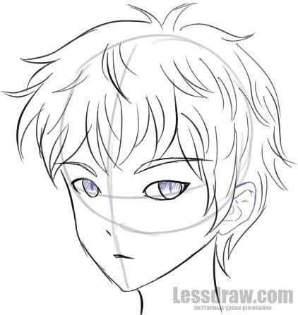 draw anime boy step  step colored pencil art
