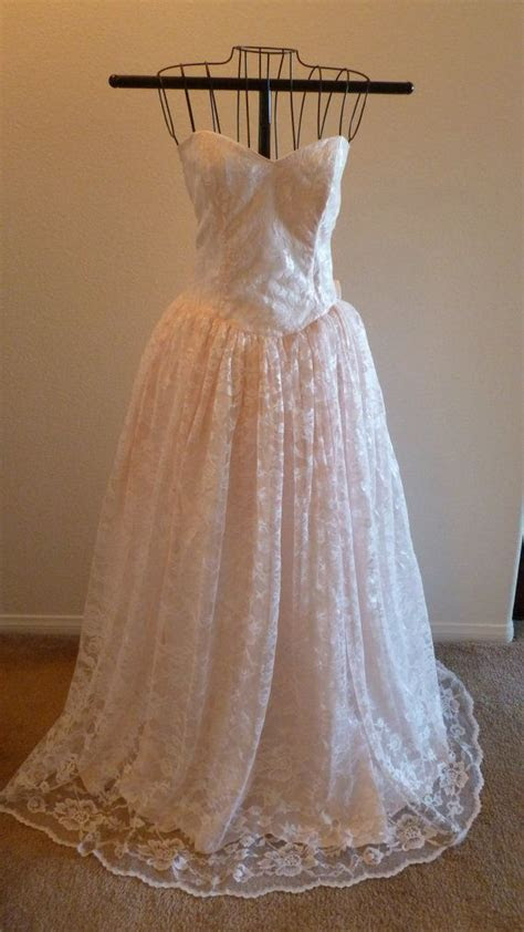 Vintage Gunne Sax Jessica McClintock Strapless Pink Lace