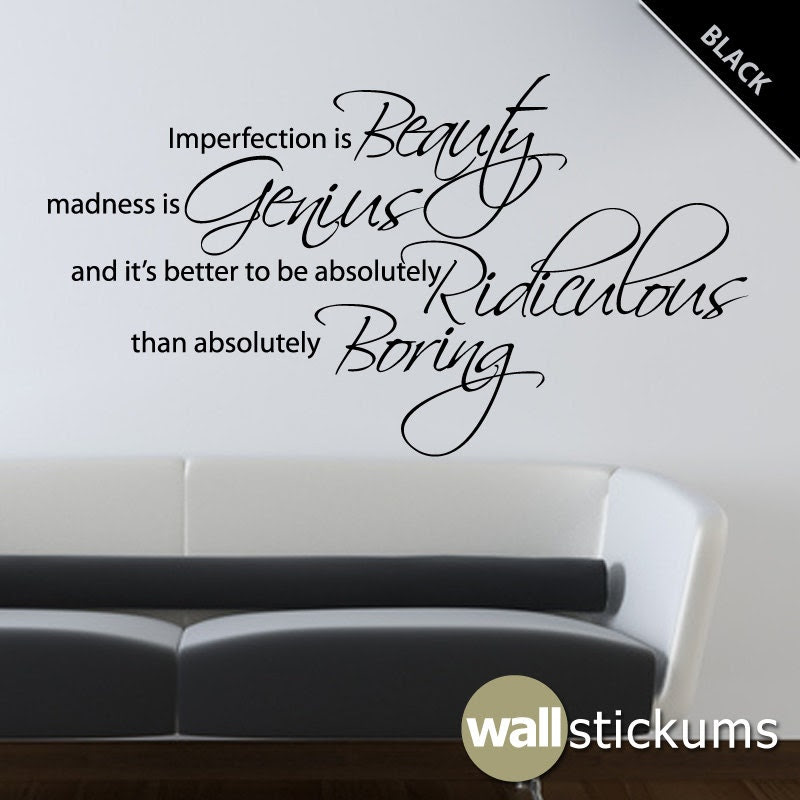Marilyn Monroe Wall Decal Quote Vinyl Imperfection by WallStickums
