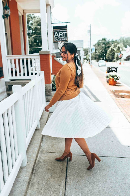 Cute White Fit and Flare Dress | Summer Workwear | Dreaming Loud
