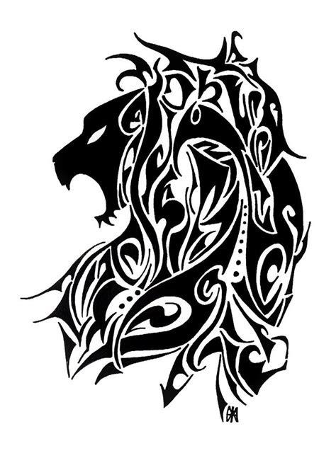 awful black tribal lion tattoo design