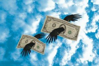 image: money flying away