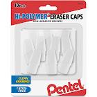 Pentel Eraser Caps, Hi-Polymer, 10 Pack - 10 erasers