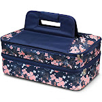 Zodaca Women Hot/Cold Thermal Bag Double Casserole Insulated Carrier Leak Resistant Carry Case for Picnic Camping - Chinese Blossom