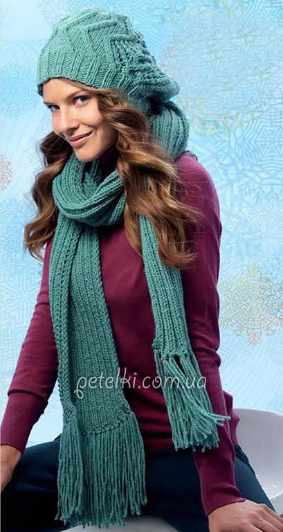 Turquesa set - sombrero y bufanda con flecos.  Descripción del esquema