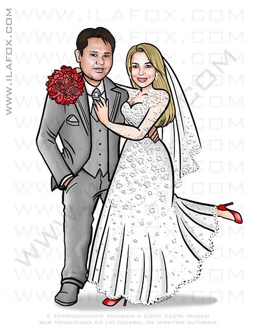 caricatura proporcional, caricatura sem exagero, caricatura noivinhos, caricatura para casamento, by ila fox