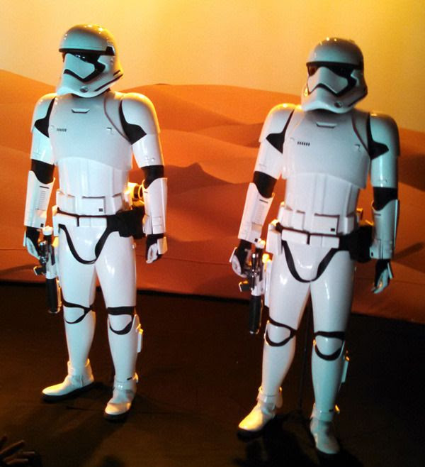 Two Stormtrooper suits on display inside THE FORCE AWAKENS exhibit at the Star Wars Celebration in Anaheim, California...on April 17, 2015.
