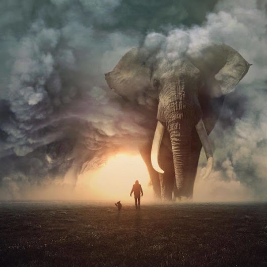 Digital Artist Imagines An Awe-Inspiring World Of Giant Animals And Tiny Humans - DesignTAXI.com