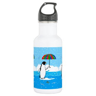 Penguin in the Snow Art on Water Bottle