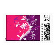 Abstract Floral Postage Stamp stamp