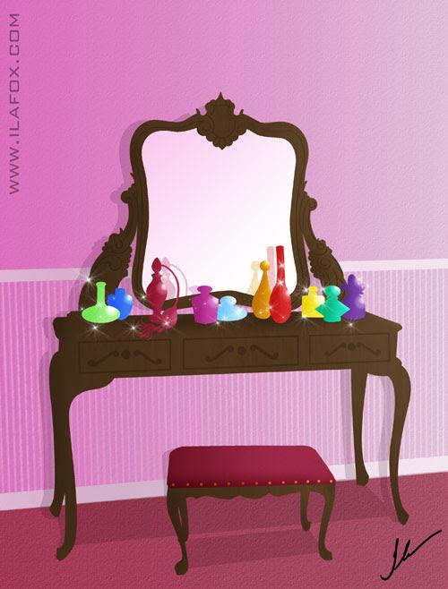Penteadeira com espelho e perfumes ilustração by ila fox