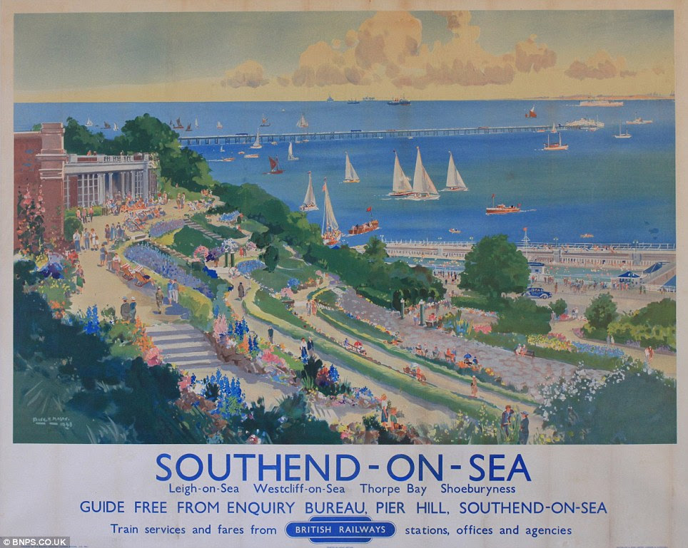 Discovery: This staycation poster from the 1940s, which attempts to entice travellers to visit Southend-on-Sea, was one of ten found hidden underneath the carpet of house being renovated
