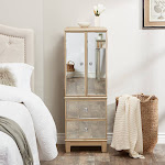 Abbyson Sophie Champagne Gold Mirrored Jewelry Armoire