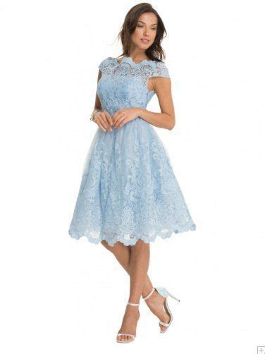 Light Sky Blue Lace Cap Sleeve A line Tea Length