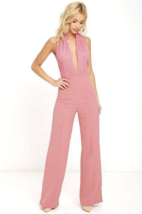 Sexy Blush Pink Jumpsuit   Halter Jumpsuit   Lace Jumpsuit