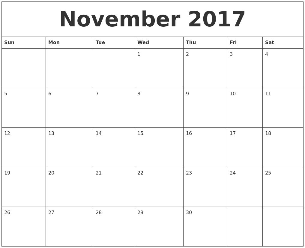 november 2017 printable calander
