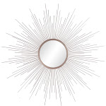 "36""x36"" Rays Sunburst Metal Framed Decorative Wall Mirror Champagne - Patton Wall Decor"