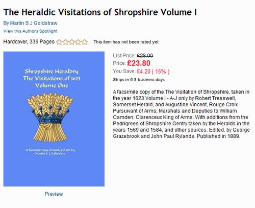 The Heraldic Visitations of Shropshire Volume 1