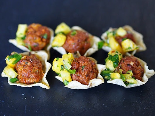Chorizo Meatballs with Pineapple Salsa recipe