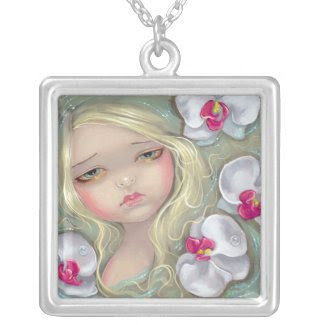 Pink Orchid Nymph NECKLACE flower fairy necklace