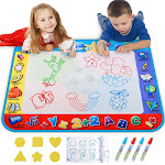 Alago Water Doodle Mat,Kids Toys Large Aqua Mat,Toddlers Painting Coloring Pad with 4 Colors,Gifts for Girls Boys Age 2 3 4 5+ Years Old,4 Pens,