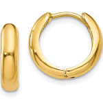 Quality Gold Y7916 12 x 11 mm 14K Yellow Gold Polished Hinged Hoop Earrings Pair