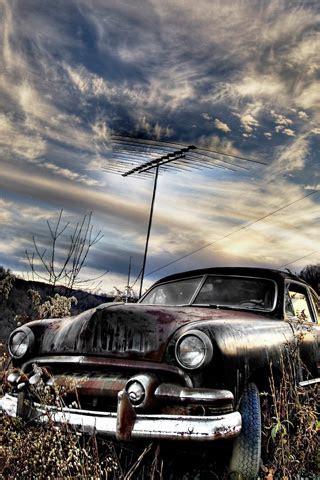 rusty car iphone wallpaper hd