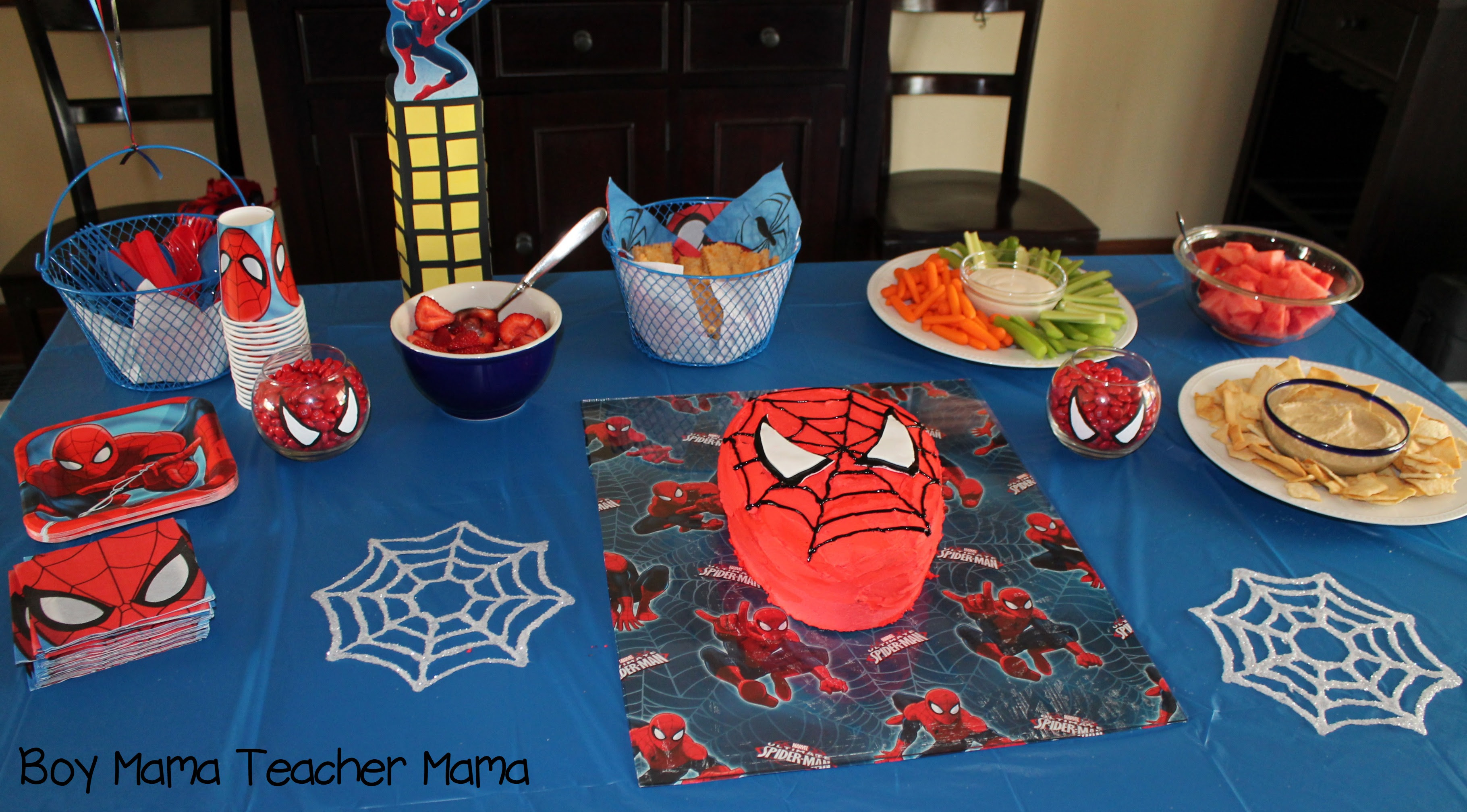Boy Mama Teacher Mama Spiderman Party 14