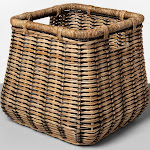 """Large Rounded Square Basket Natural with Black Accents 14.5""""x16.5"""" - Threshold , Green"""
