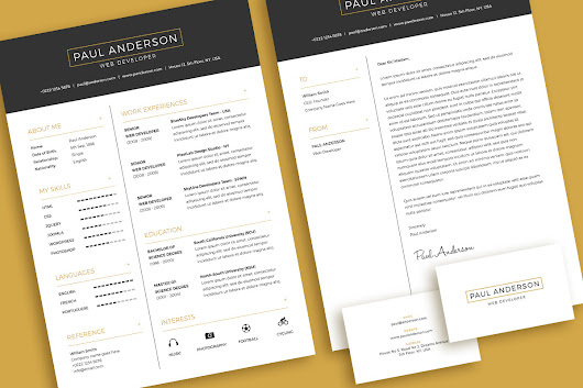 Free Minimal Resume (CV) Design Template With Cover Letter & Business Card Design PSD File - Good Resume