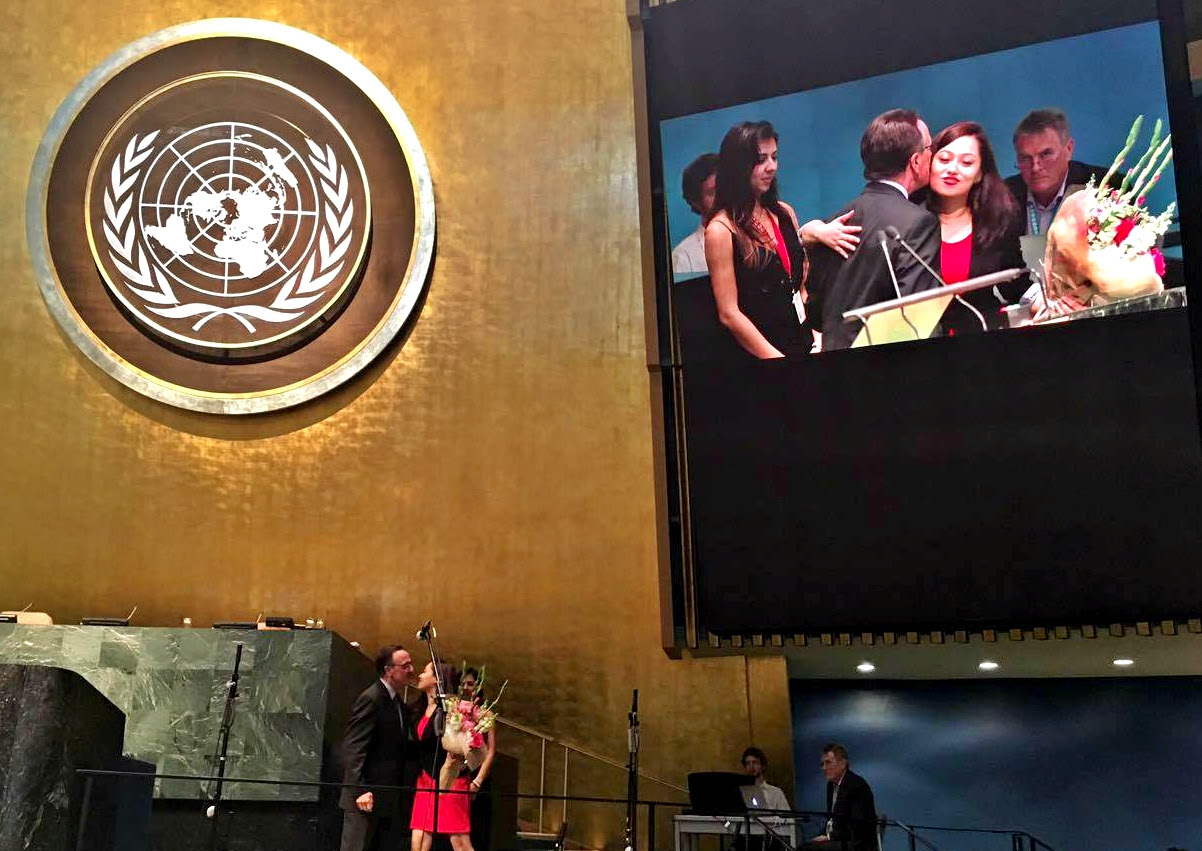 Getting award at the UN.