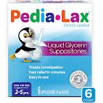 Pedia-Lax Laxative Liquid Glycerin Suppositories for Kids, Help to Provide Gentle Relief from Occasional Constipation, Ages 2-5, 6 Count