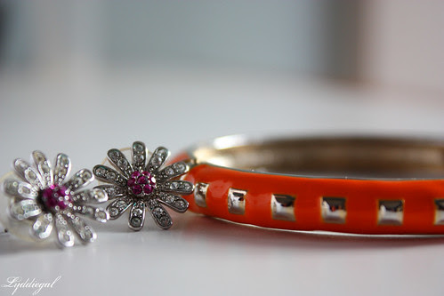 Daisy Earrings and Studded bracelet