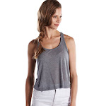 US Blanks US510 Ladies Sheer Cropped Racer Tank-HEATHER GREY-L