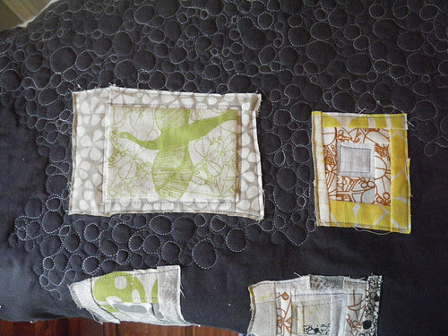 Trimmings quilt, the quilting has started