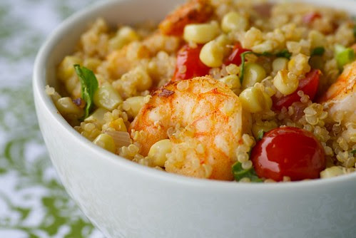 Quinoa and Shrimp with Fresh Corn and Cherry Tomatoes