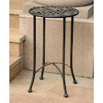 International Caravan 3469-ANT-BK Mandalay Iron Round Table Antique Black