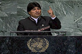 President Evo Morales of Bolivia at the United Nations General Assembly. Latin America is moving away from US imperialism. by Pan-African News Wire File Photos