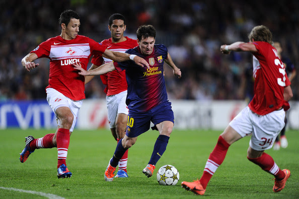 Lionel Messi and Marek Suchy - FC Barcelona v FC Spartak Moscow - UEFA Champions League