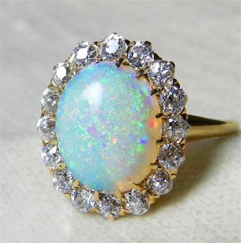 Antique 3.0 Carat Fine Opal Engagement Ring 1.6 cttw Mine