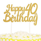 PALASASA Single Sided Glitter Happy Birthday Cake Toppers Decorations Tool Party Supplies (40th Gold)