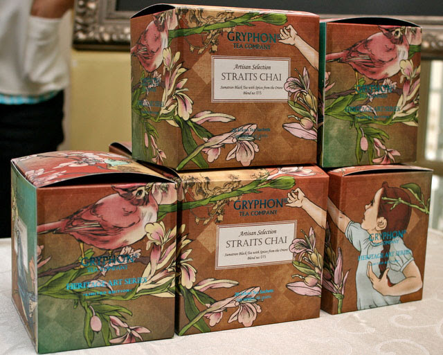 Gryphon Tea's Straits Chai box featuring artwork from Lee Wai Leng aka Fleecircus