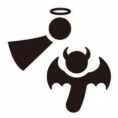 天使と悪魔シルエット イラストの無料ダウンロードサイトシルエットac