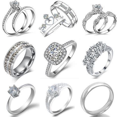 Women Fashion Crystal White Gold Plated Wedding Engagement