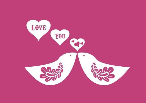 Vinyl Wall Decal Sticker Art - Love You Birds - Valentines Decoration